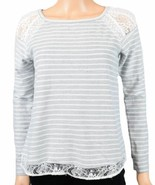 Maison Jules Womens Striped Lace-Inset Pullover Sweater Small S Gray $59 - $7.00
