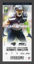 2016 SEAHAWKS vs LOS ANGELES RAMS Full Season Ticket Stub 12/15 EARL THOMAS - $2.49
