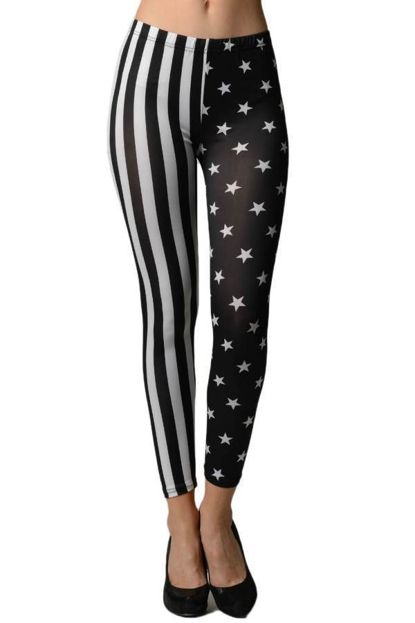 Primary image for Black & White American Stars & Stripes Flag Leggings