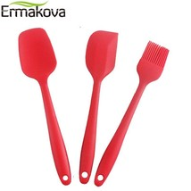 Ermakova® 3 Pcs Silicone Scraper Spatula Brush Set Stainless Steel Non-S... - €7,97 EUR