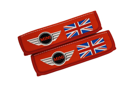Mini Cooper Red Leather Seat Belt Covers / Logo Embroidery Shoulder Pads - $30.00