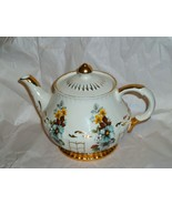 Ellgreave White Gilt w Assorted Brilliant Flowers Porcelain Footed Teapo... - $123.75