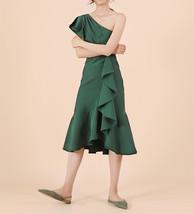 Women Dark Green One Shoulder Midi Dress Green Wedding Bridesmaid Chiffon Dress  image 1