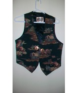 WOMEN'S VINTAGE WESTERN STYLE EMBROIDERED VEST, MEDIUM, WAGONS AND COWBOYS - $74.25