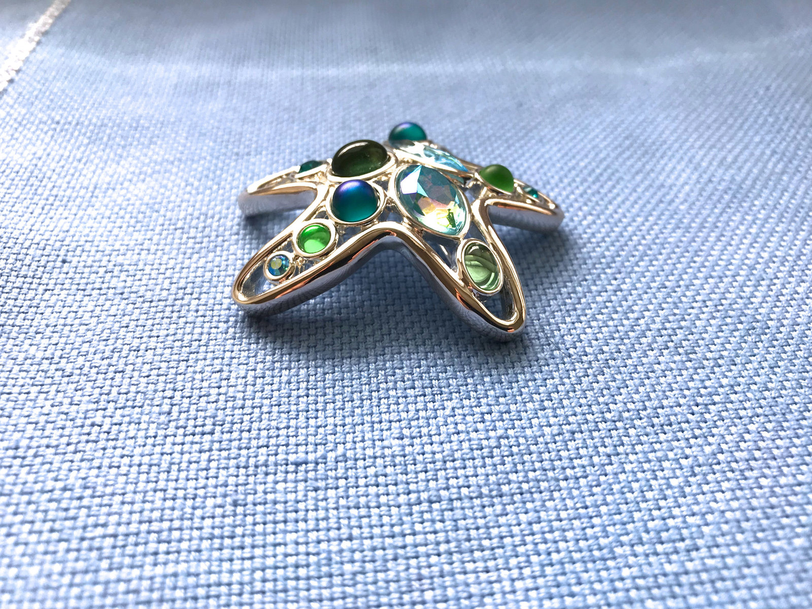 Vintage Monet Signed Jewelled Cabochon Starfish Nautical Brooch & Earrings in Bo