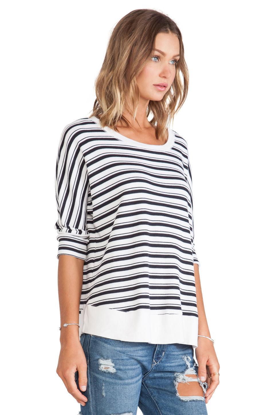 New $98 Women's Splendid Striped Box Top 3/4 Sleeves Sz S & M