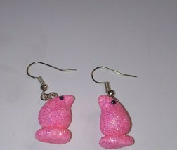 Cute Pink Peep Charm Earrings Silver Wire Clay Candy Holiday Kids Charms - $6.00