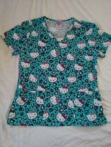 aac86fb4f2a Hello Kitty Women's Scrub Top Siz S Small Sanrio Turquoise V Neck