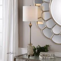 "FLAVIANA 34"" LIGHT CHAMPAGNE GLASS TABLE BUFFET LAMP AGE BRASS METAL UTT... - $129.80"