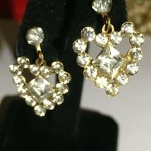 Vintage Rhinestone Heart Dangle Screw Back Earrings - $22.77