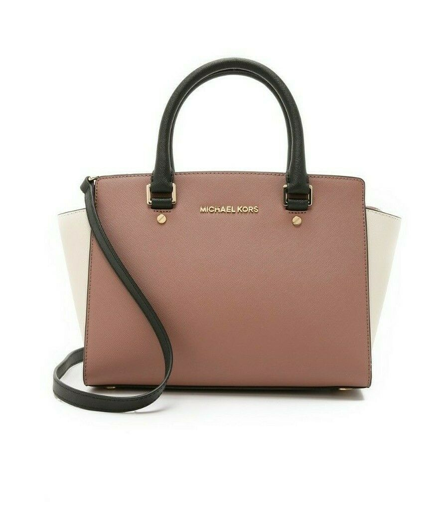 MICHAEL KORS SELMA ROSE PINK BLACK ECRU SAFFIANO LEATHER CROSSBODY SATCHEL*NWT image 2