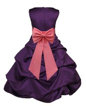 Bubble Satin Purple Flower Girl Dress Easter Pageant Wedding Bridal Reci... - $38.99