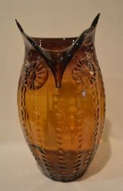 "Large 13 1/2"" French Art Verre Artisanal Glass Amber Owl Vase - $98.99"