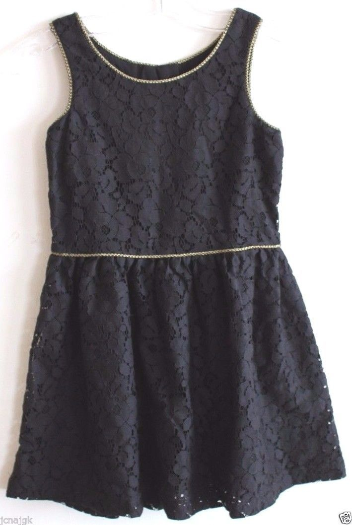 Gap Kids NWT Girl's Black Lace Dress w/ Gathered Skirt & Gold Trim image 1