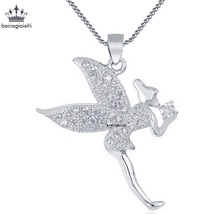 Angel Pendant With Chain 14k White Gold Plated 925 Sterling Silver Round... - $48.99