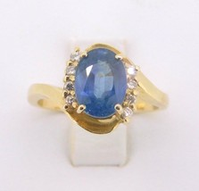 14K Gold Large 2.24ct Genuine Natural Sapphire Ring with Diamonds (#J541) - $995.00