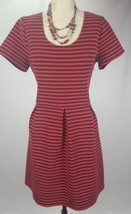 J Crew Red Navy Blue Stripe Skater Dress 12 Career Casual Cap Sleeve Stretch - $24.31
