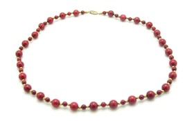 Red Art Glass Faux Stone Gold Tone Bead Beaded Necklace Vintage - $24.74