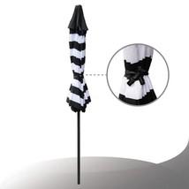 9 ft. Steel Crank and Tilt Stripe Market Patio Umbrella in Black and White - $87.53