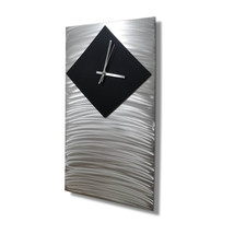 Modern Metal Art- Large Wall Clock, Silent Clock, Wall Sculpture for Kit... - $170.75