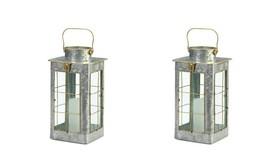 2 Iron Candle Lanterns Farmhouse Style w/ Gold Trim Glass Window Panes 1... - $59.35