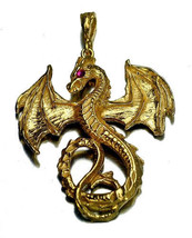 COOL Fantasy Mythical Ruby Dragon Pendant Charm Gold Plated Jewelry - $59.39