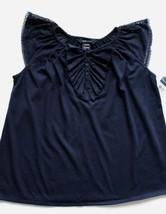 Ralph Lauren Girls L Top Blouse Shirt Lace Ruffles Short Sleeve Navy NWT - $19.99
