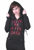 """God's Mains """" Love Me If You Dare """" Maybille Noir Polaire Capuche Nwt"""