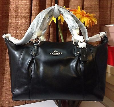 NWT COACH COLETTE LEATHER SATCHEL/SHOULDER BAG GOLD/BLACK IMBLK F33806