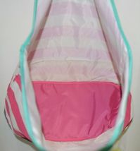 Viv And Lou Large Pink White Striped Beach Tote Bag Polyester image 4