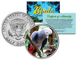 AFRICAN GREY BIRD Colorized JFK Half Dollar US Coin PARROT with Bright R... - $8.86