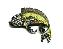 NEW Vintage 1928 Large Bass Fish Green Yellow Rhinestone Brooch Pin NWT - $14.95