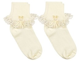 Country Kids Girls' Cotton Turncuff Socks (7-10 years (shoe size 6-9) Iv... - $26.07