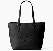 NWT Kate Spade Larchmont Ave Logo Penny Black Leather Large ZipTop Tote ... - $128.99
