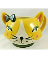 Home Essentials Yellow Cat Bow Eyelashes Mug Coffee Tea Cup Mug Cute Caf... - $12.99