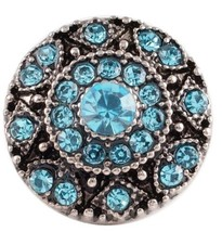 Silver Blue Rhinestone 18mm Snap Charm Button For Ginger Snaps Magnolia ... - $6.19