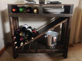 Wine Table Utility Entryway Solid Wood Rack Storage Bottle Holder Bar Ca... - $386.04