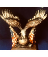 """One Nation Under GOD Eagle Figurine on Globe Wings Span with 2 Flags 10.5"""" - $38.61"""
