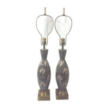 Hollywood Regency Grey and Pink Ceramic Lamps-A Pair - $2,595.00