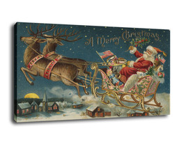 "Fantasy Art Oil Painting Print On Canvas Home Decor""Santa Claus And Sled... - $16.82+"