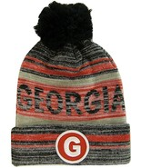 Georgia G Patch Fade Out Cuffed Knit Winter Pom Beanie Hat (Black/Red) - $11.95