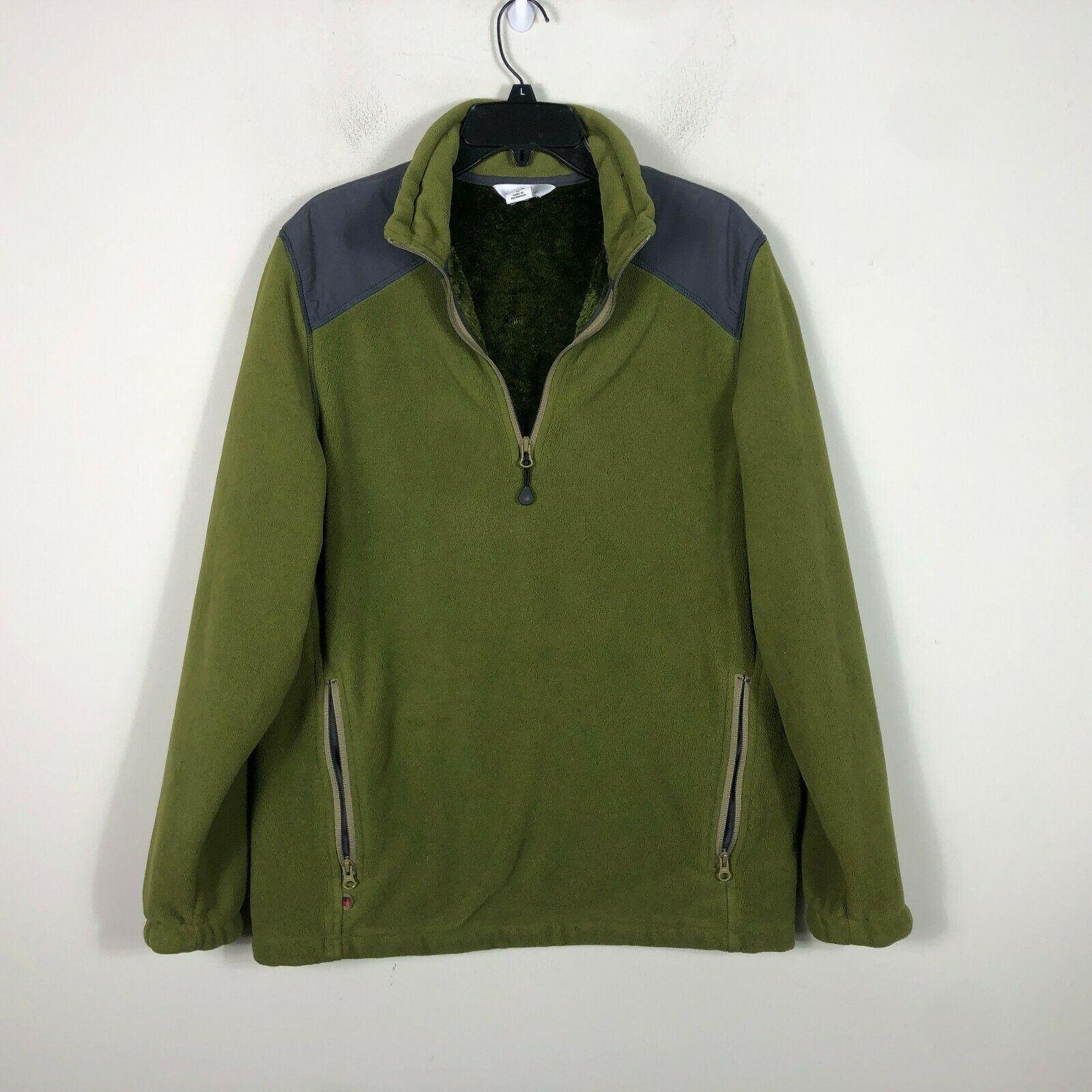WoolRich Pile Fleece Jacket 1/2 Zip Men's M Green Long Sleeve Faux Fur Lined image 2