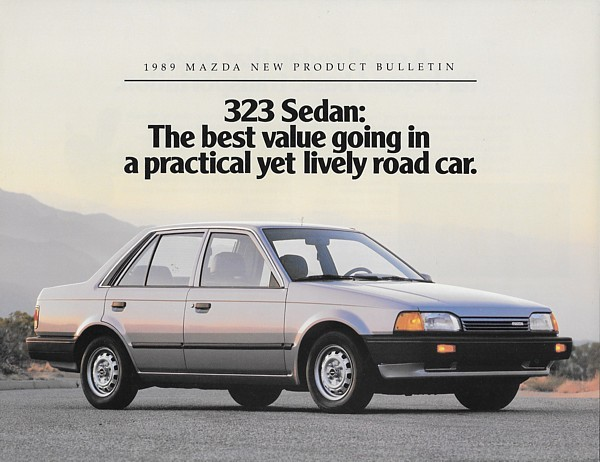 1989 Mazda 323 base sedan sales brochure sheet US 89