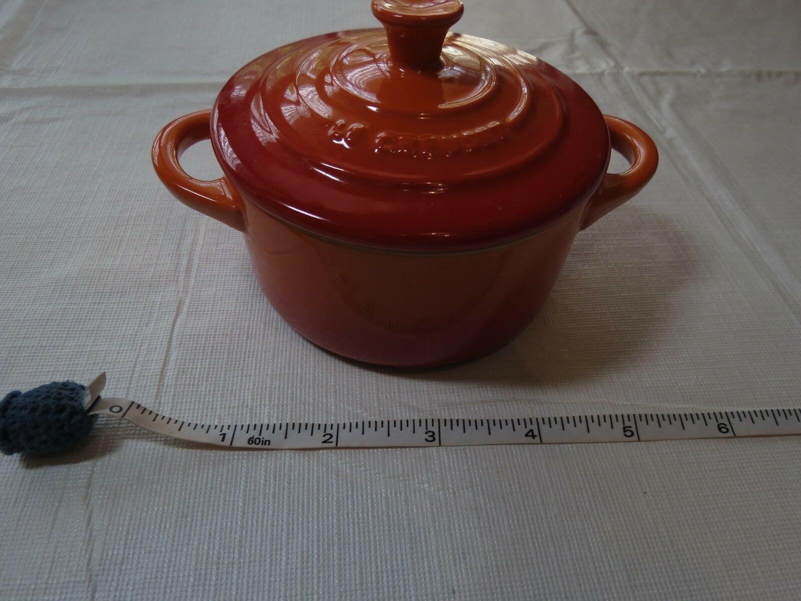 Le Creuset Stoneware Mini Round Cocotte mini tiny petite volcanic flame ONE CHIP - $59.39