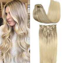 GOO GOO Clip in Hair Extensions Ombre Ash Blonde to Golden Blonde and Platinum B