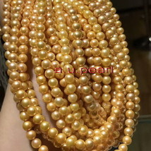 """Long AAAAA 64""""9-10mm round natural real south sea golden pearl necklace 14K - $494.95"""