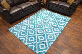 MONACO Polyester Shaggy Modern Contemporary 5x8 5x7 Rug Tre P2887 Blue T... - $99.00