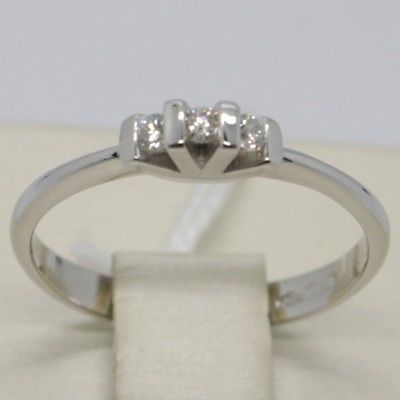 WHITE GOLD RING 750 18K, TRILOGY WITH DIAMONDS CARAT 0.09, SQUARED ITALY MADE