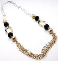 Silver necklace 925, Onyx, Oval Corrugated, Spheres Satin, Chain Rolo image 3