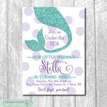 Adorable Printable Mermaid Birthday Party Invitation/DIGITAL FILE/printa... - $15.00